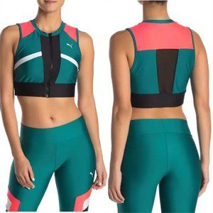 PUMA Chase Cropped Zip Up Sports Top